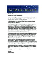 Hajim Highlights (August 22, 2016)