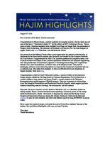 Hajim Highlights (August 29, 2016)