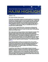 Hajim Highlights (September 12, 2016)