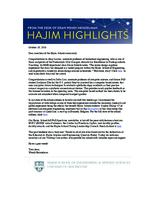 Hajim Highlights (October 10, 2016)