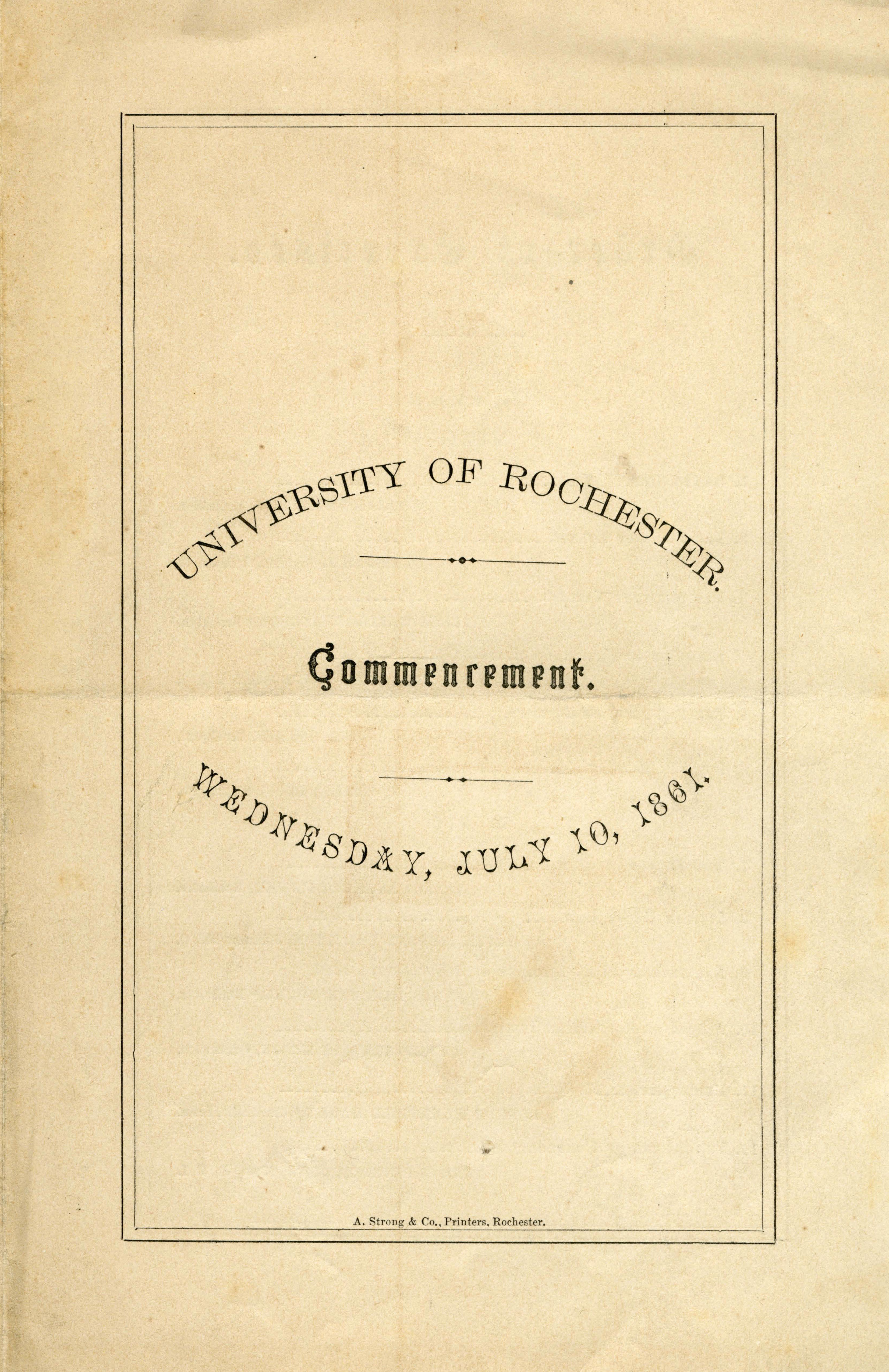 Commencement program (July 10, 1861)