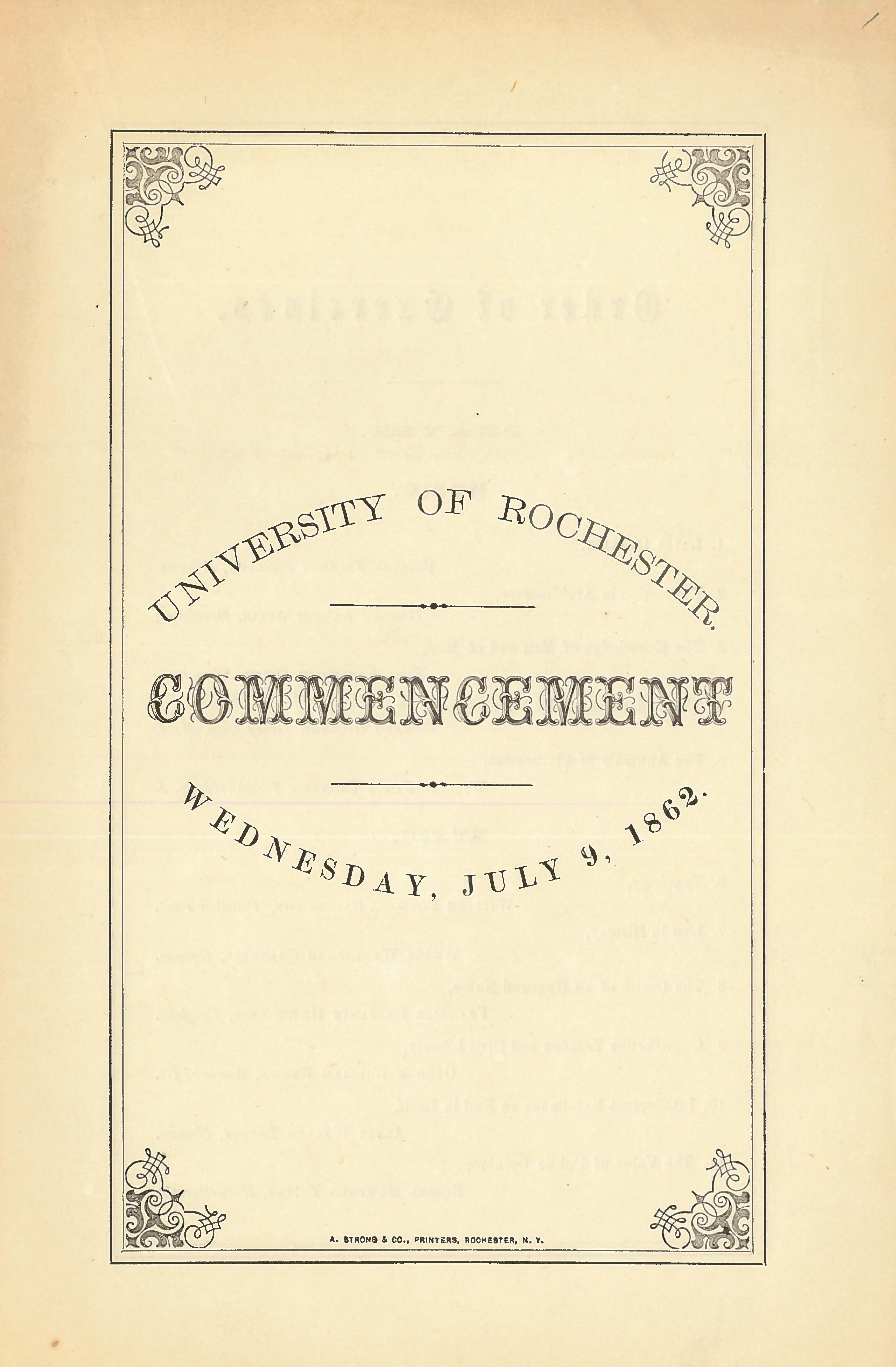 Commencement program (July 9, 1862)
