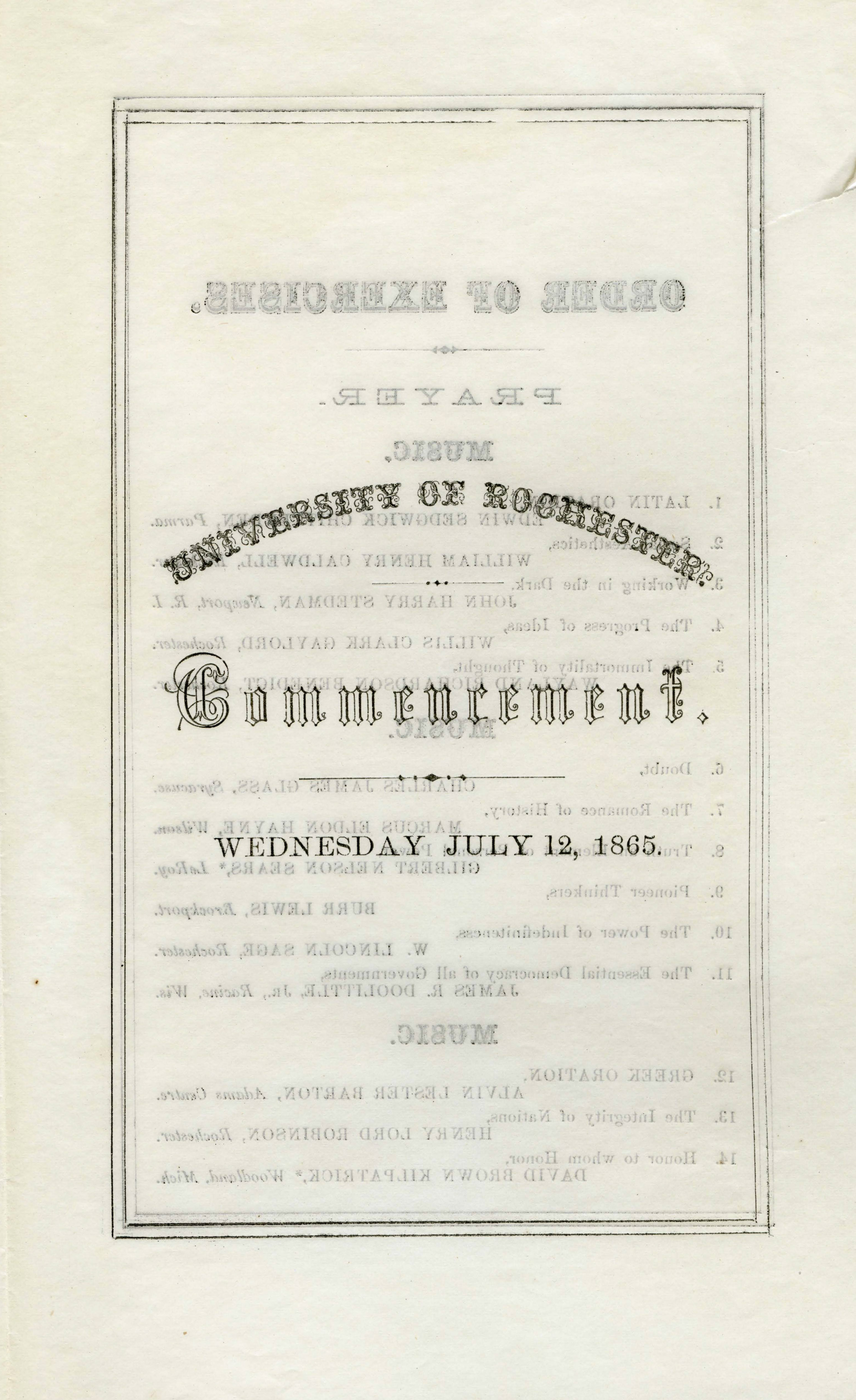 Commencement program (July 12, 1865)
