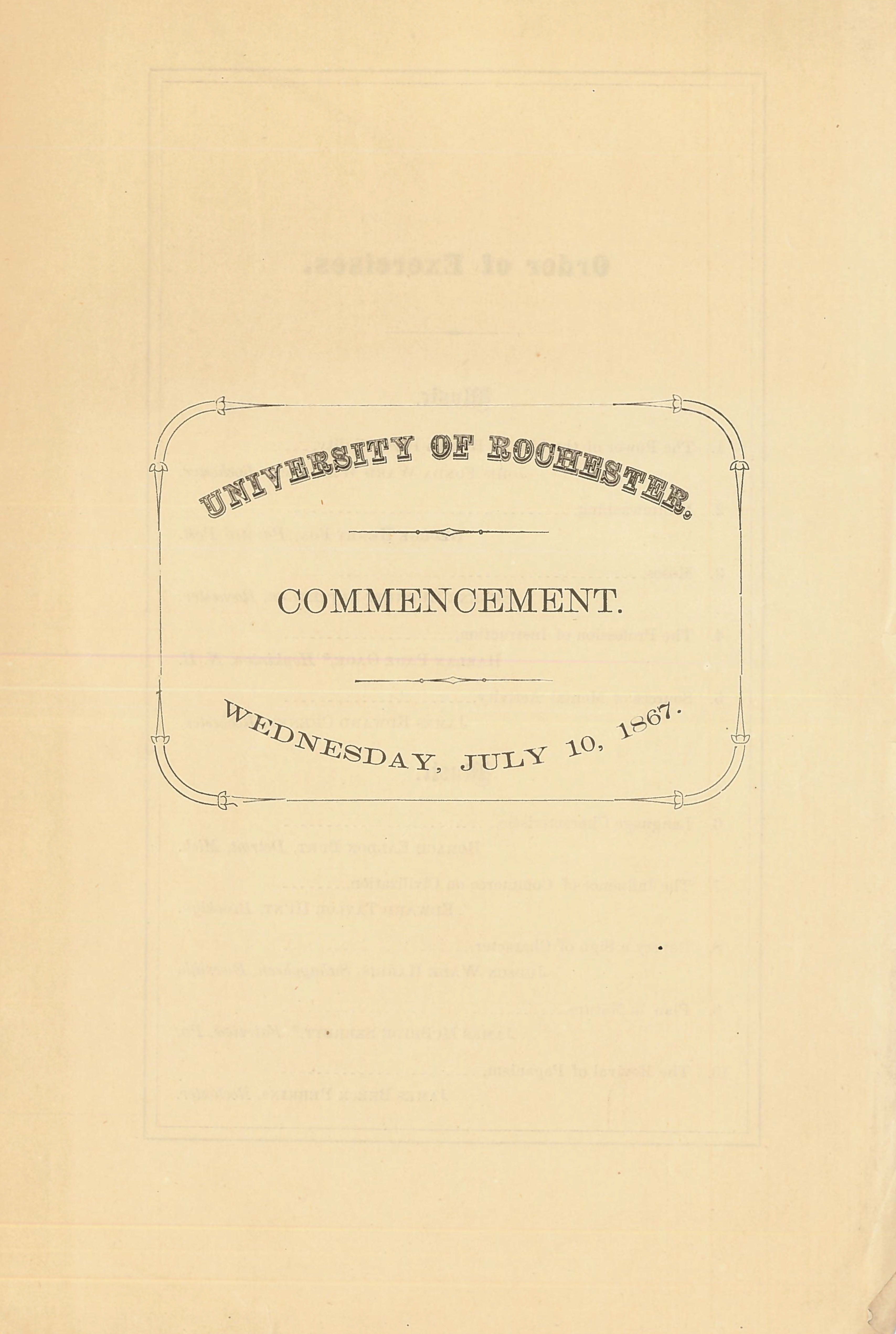 Commencement program (July 10, 1867)