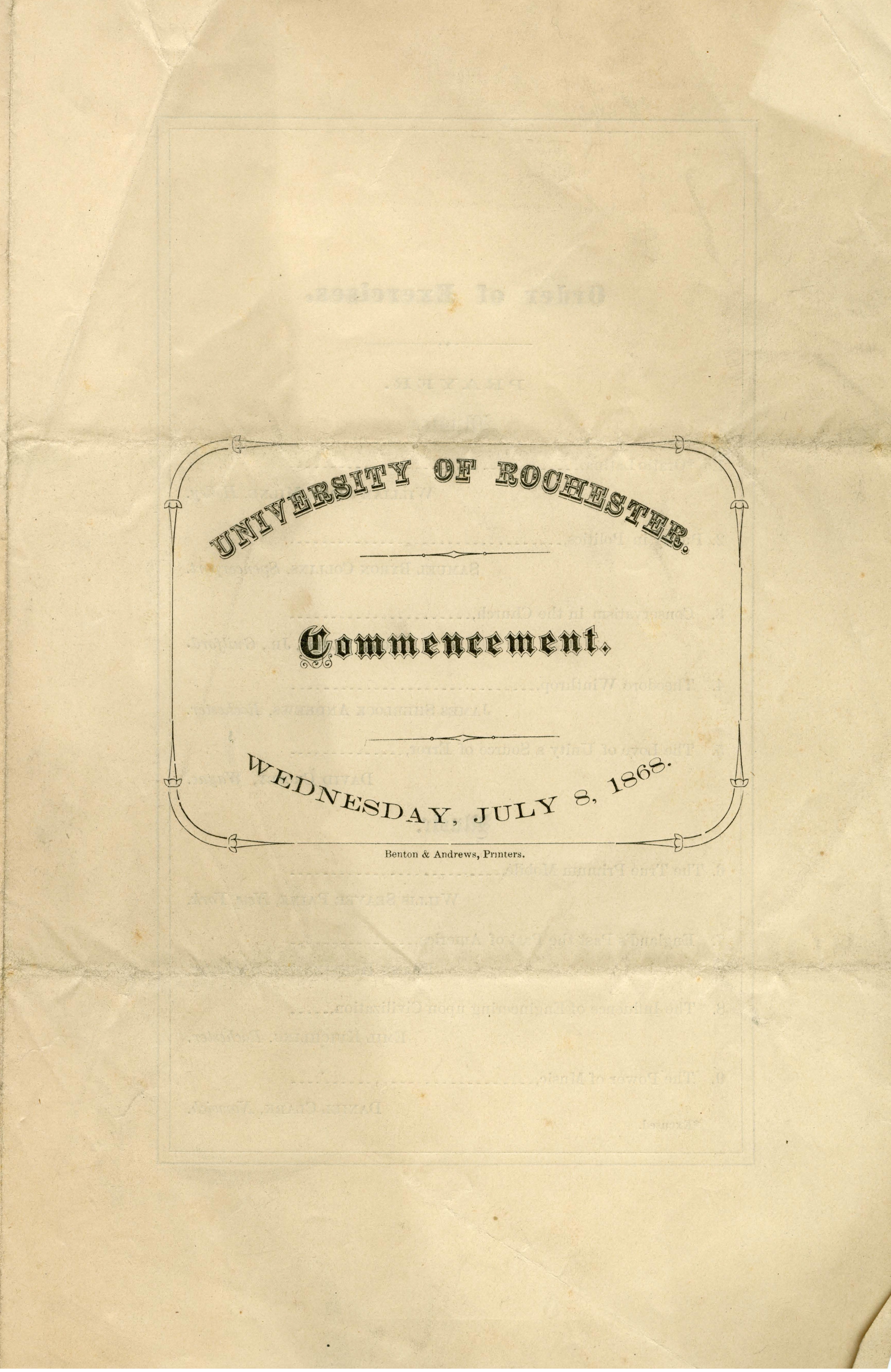 Commencement program (July 8, 1868)