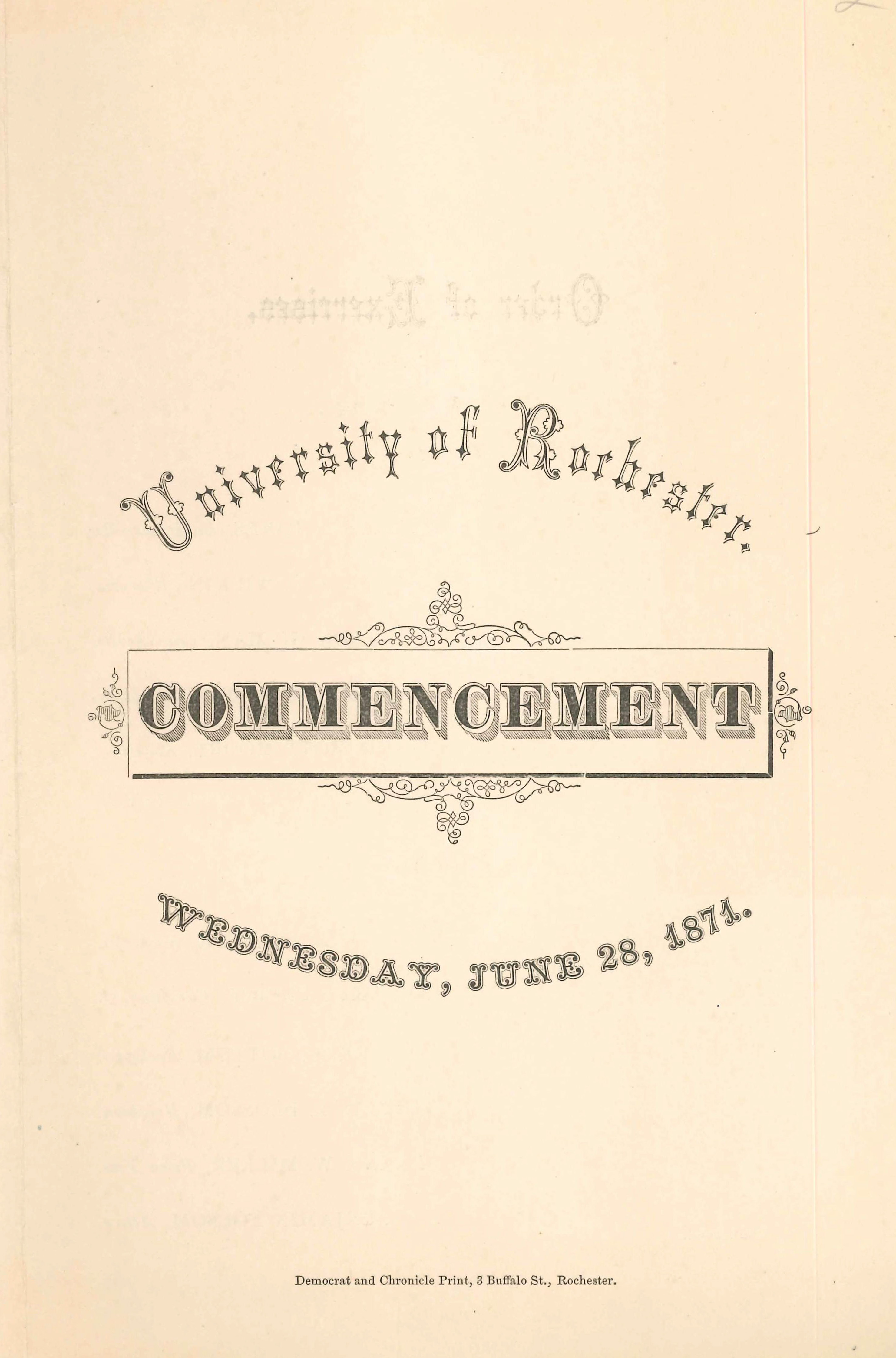 Commencement program, 1871