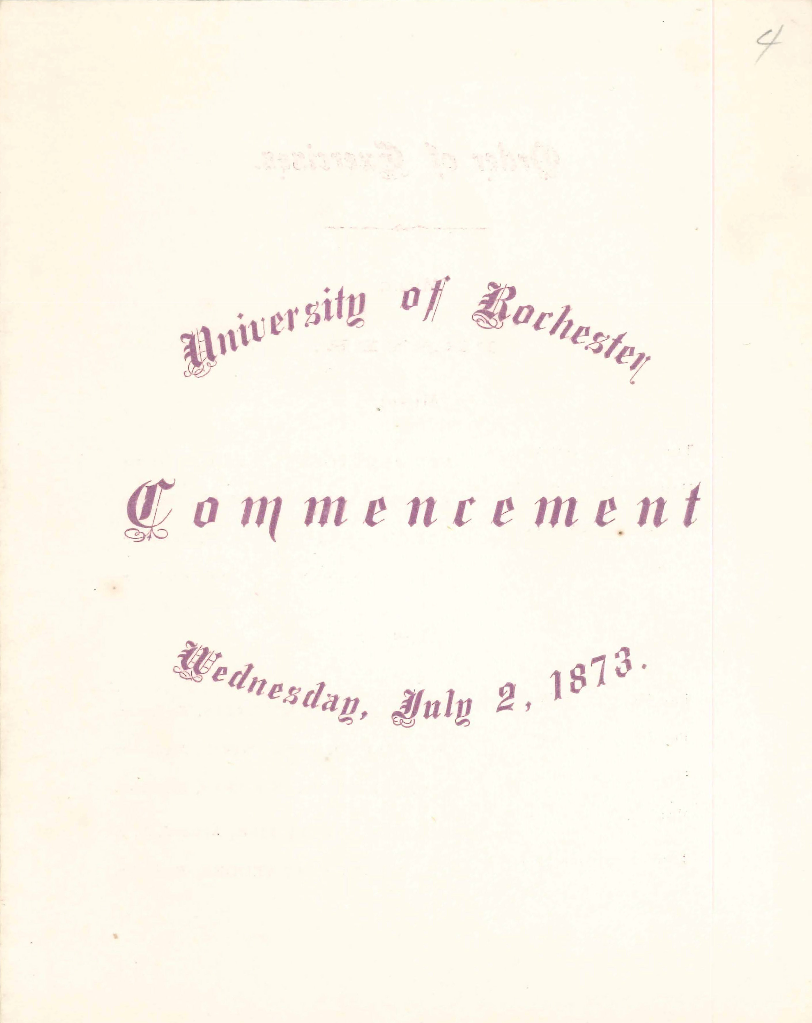 Commencement program, 1873