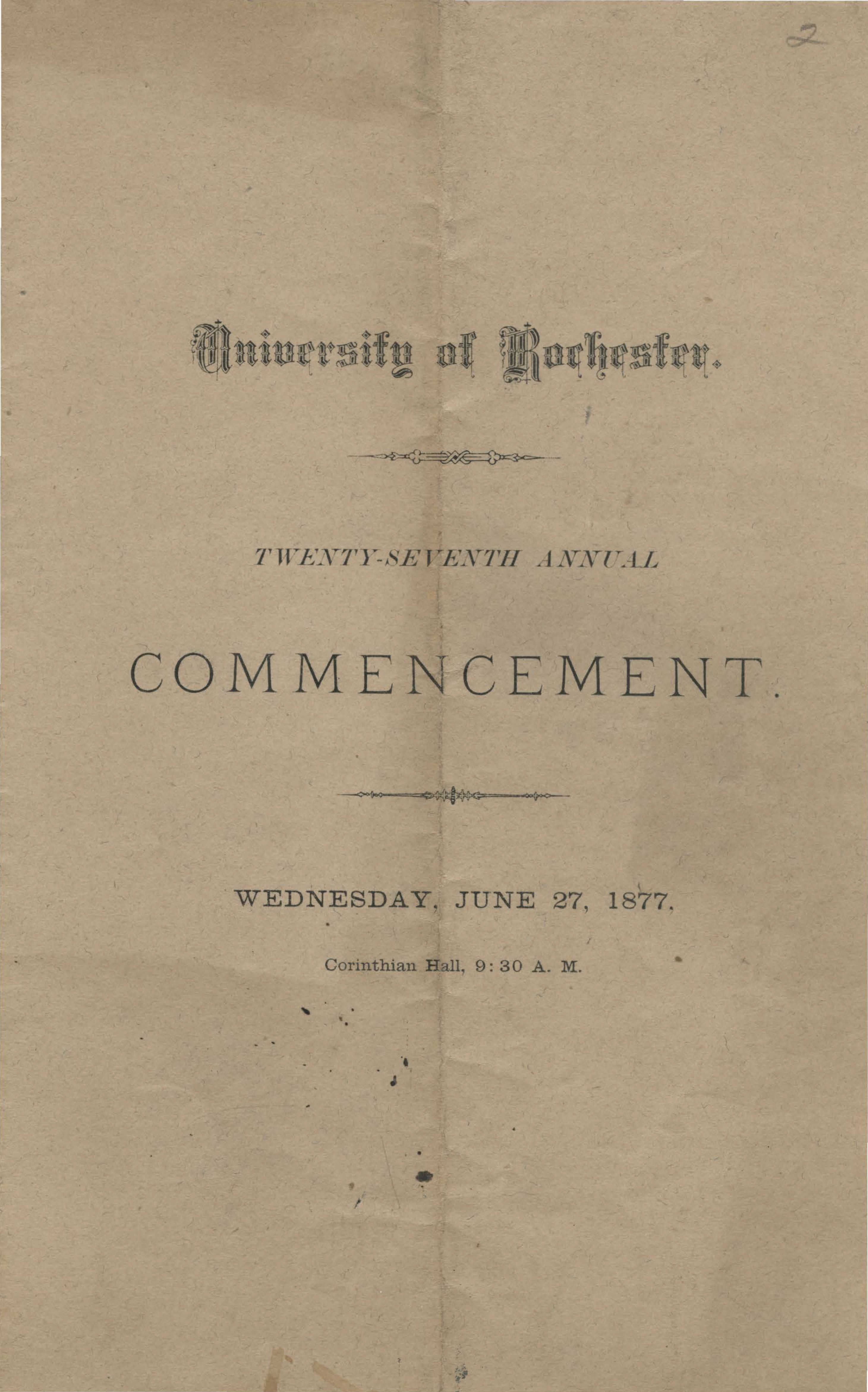 Commencement program, 1877