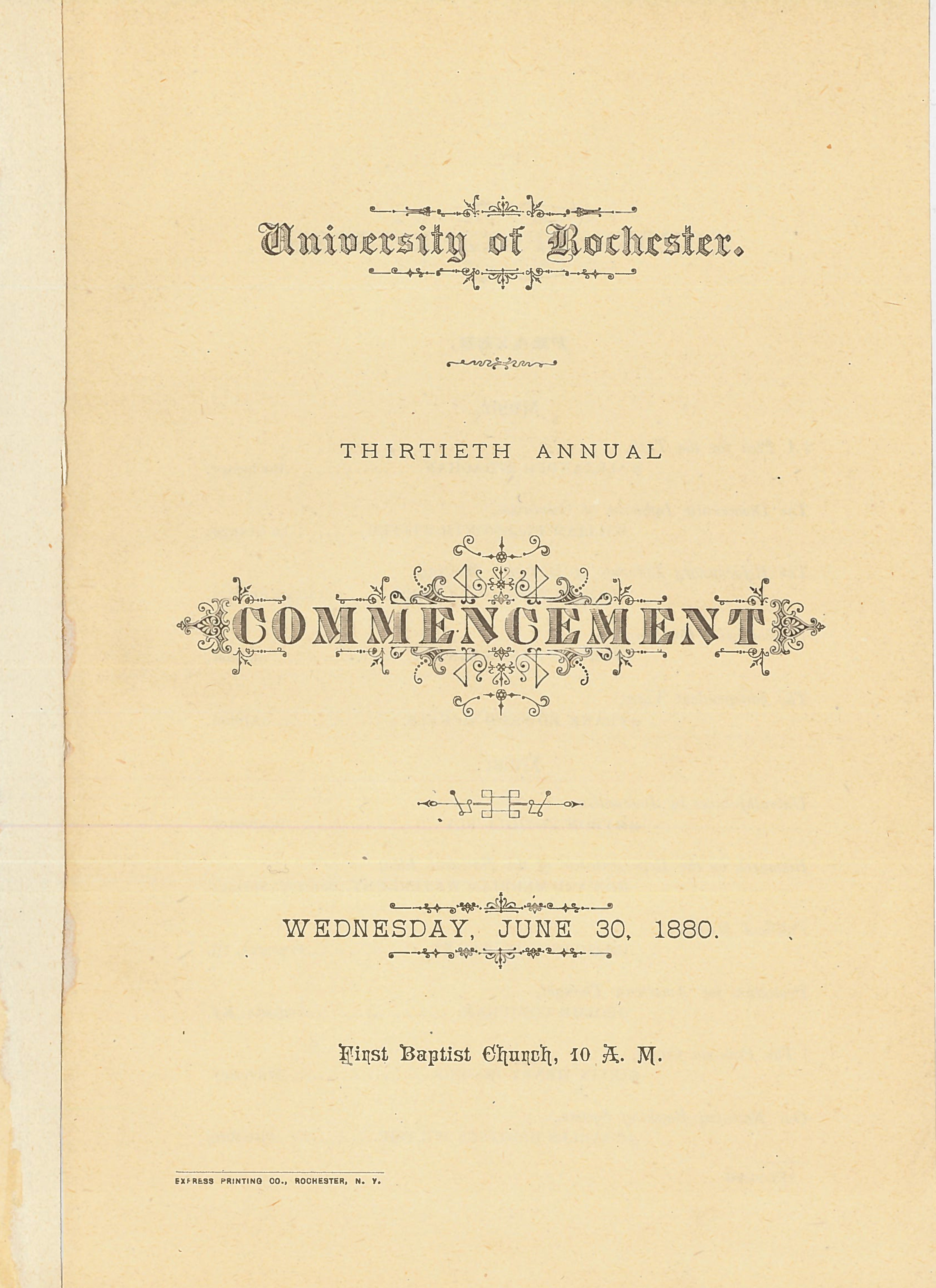 Commencement program, 1880