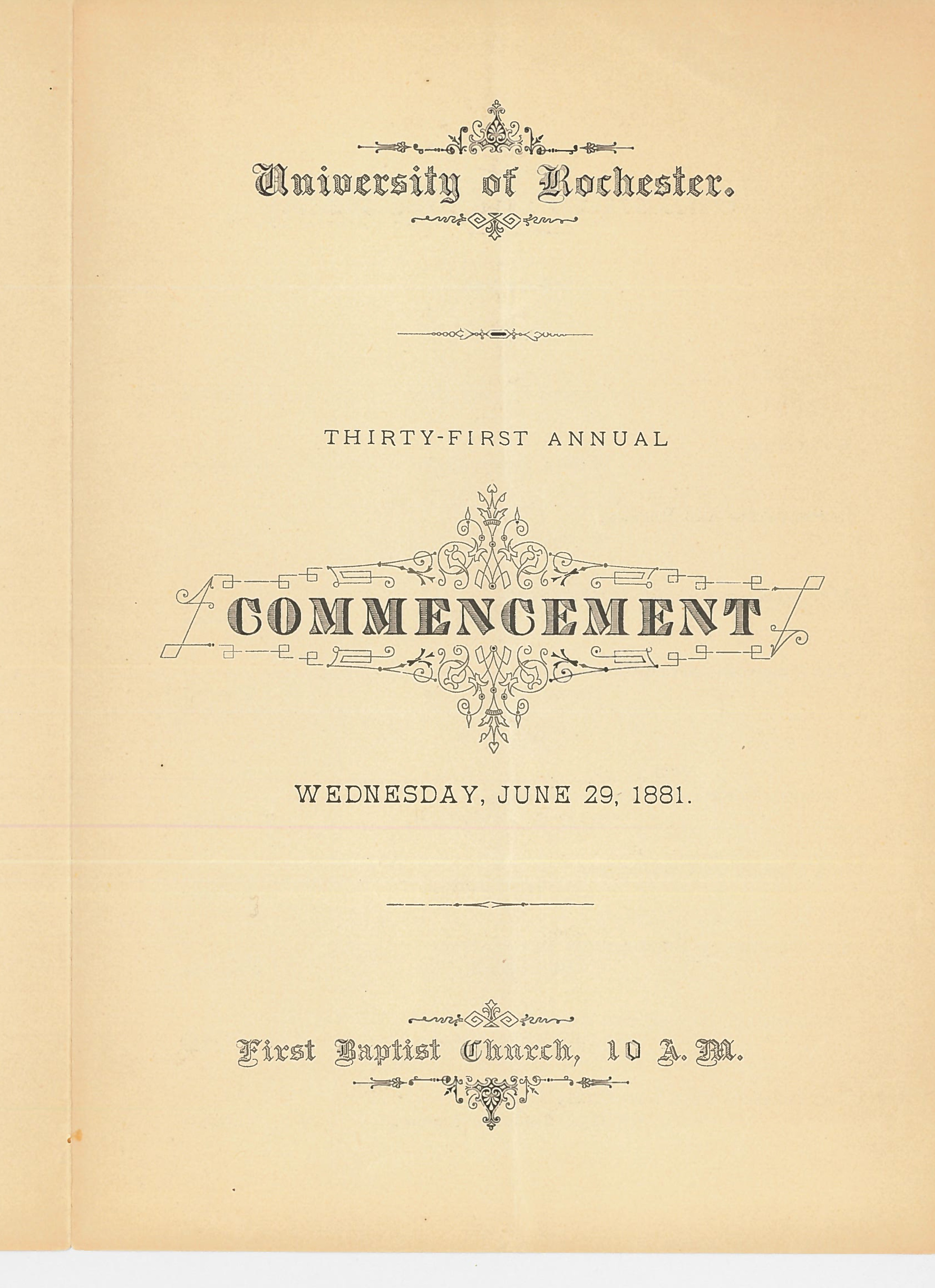 Commencement program, 1881