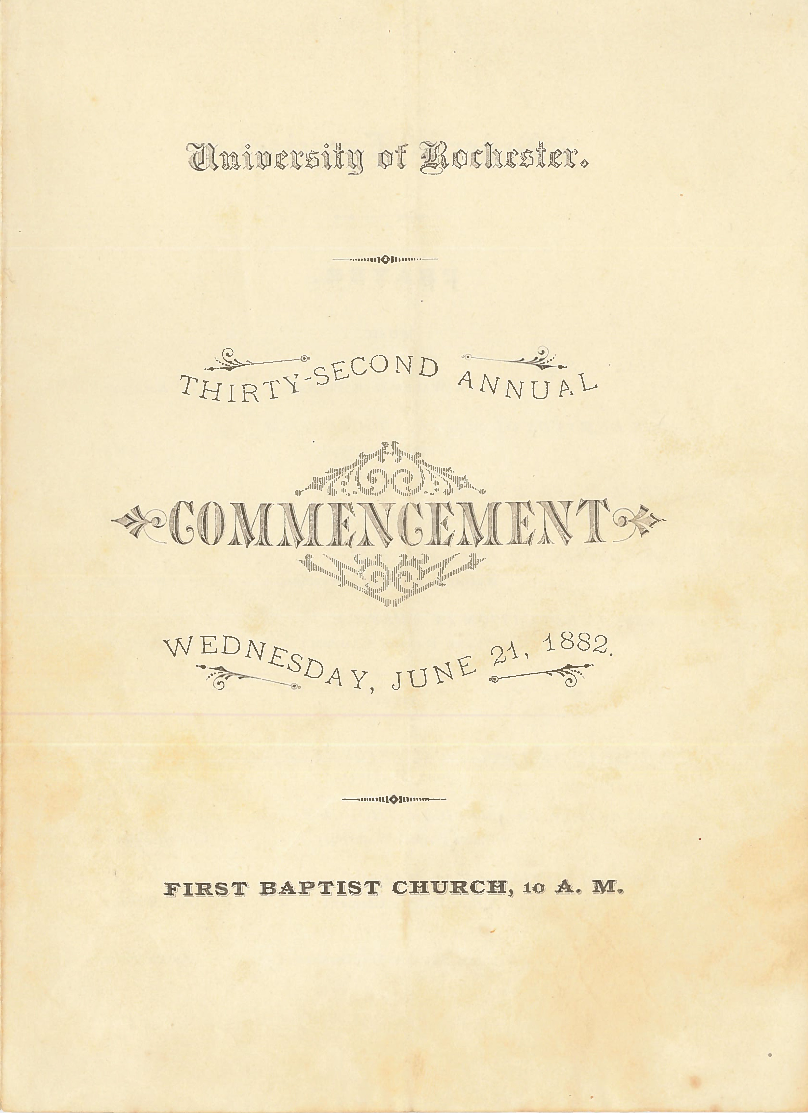 Commencement program, 1882