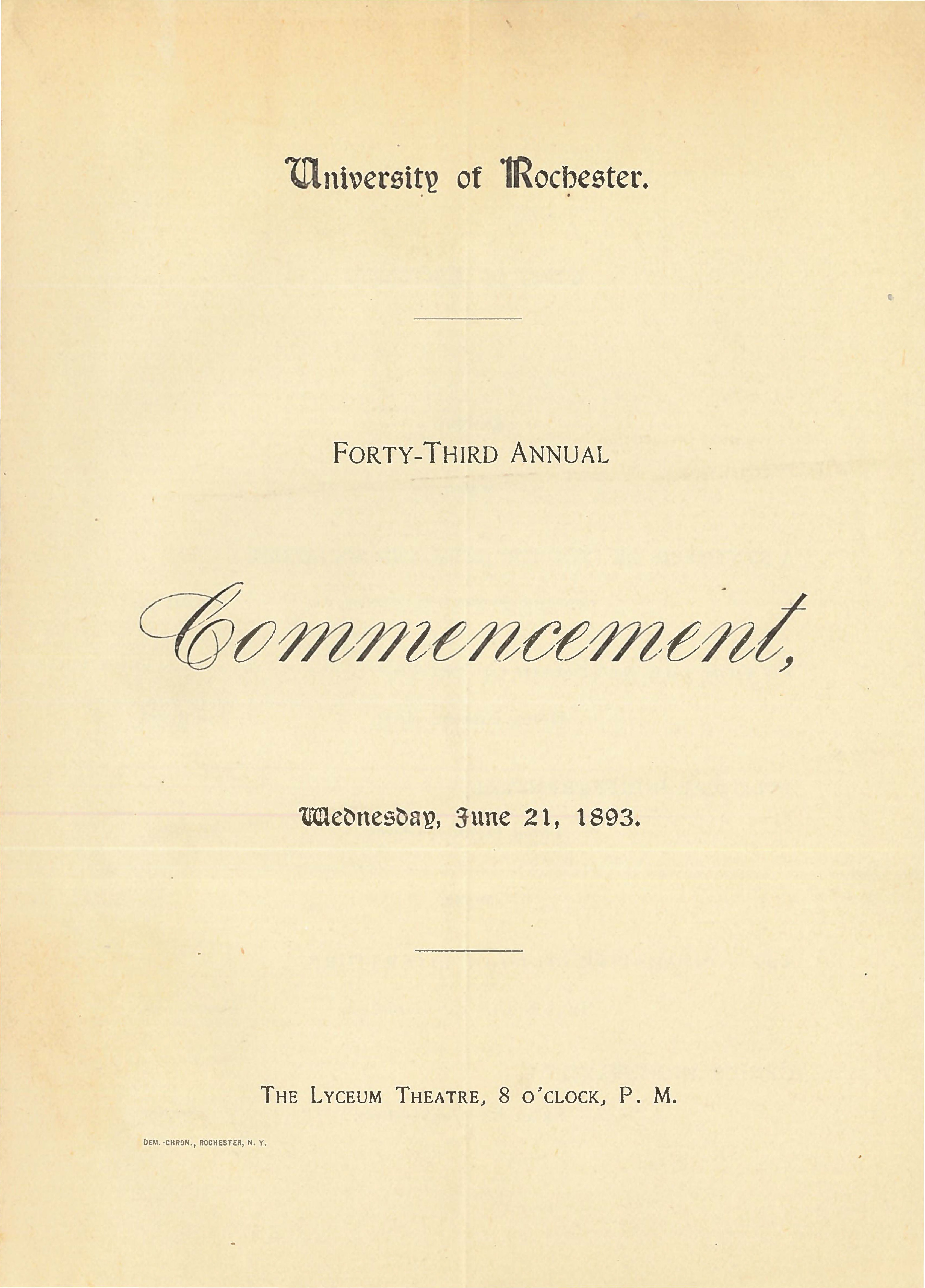 Commencement program, 1893