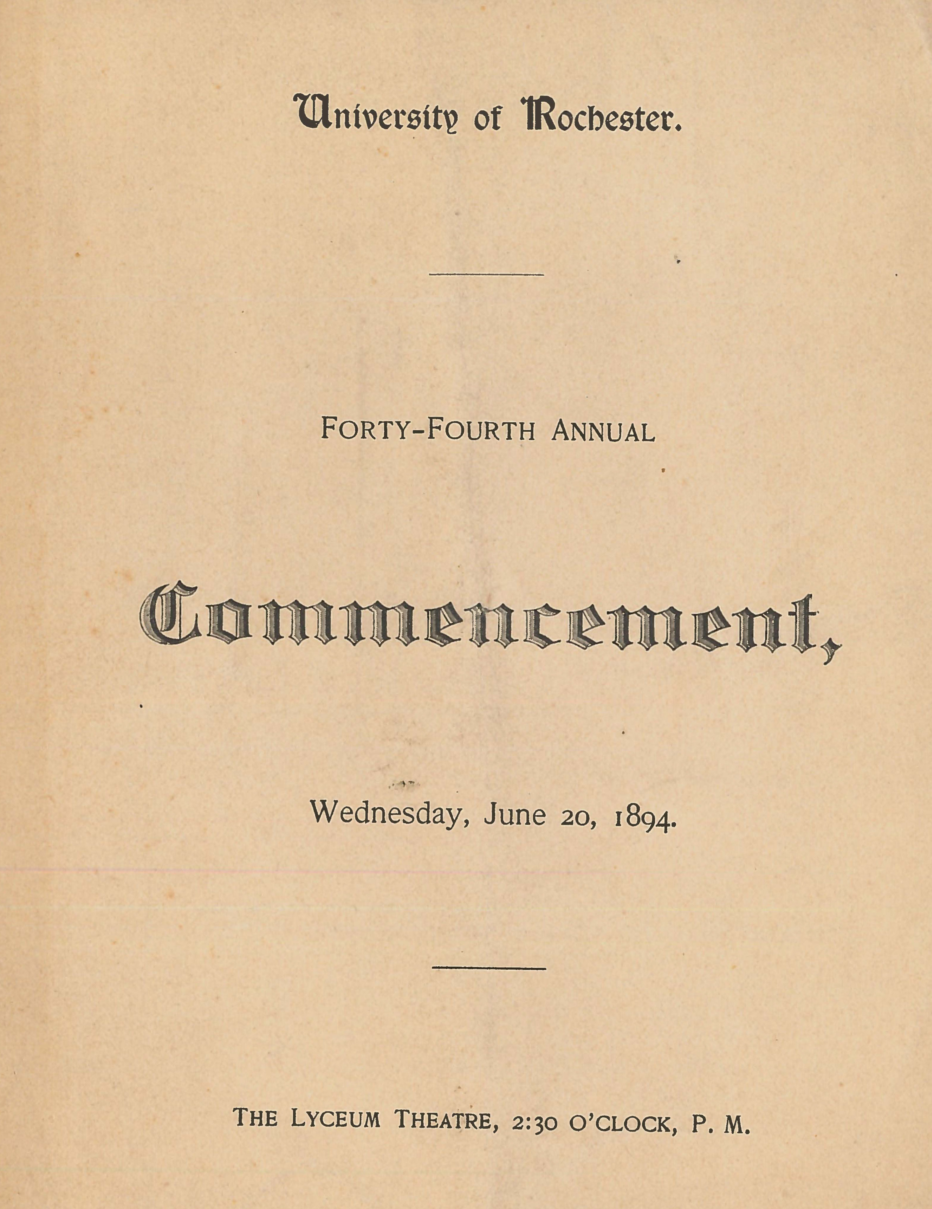 Commencement program, 1894