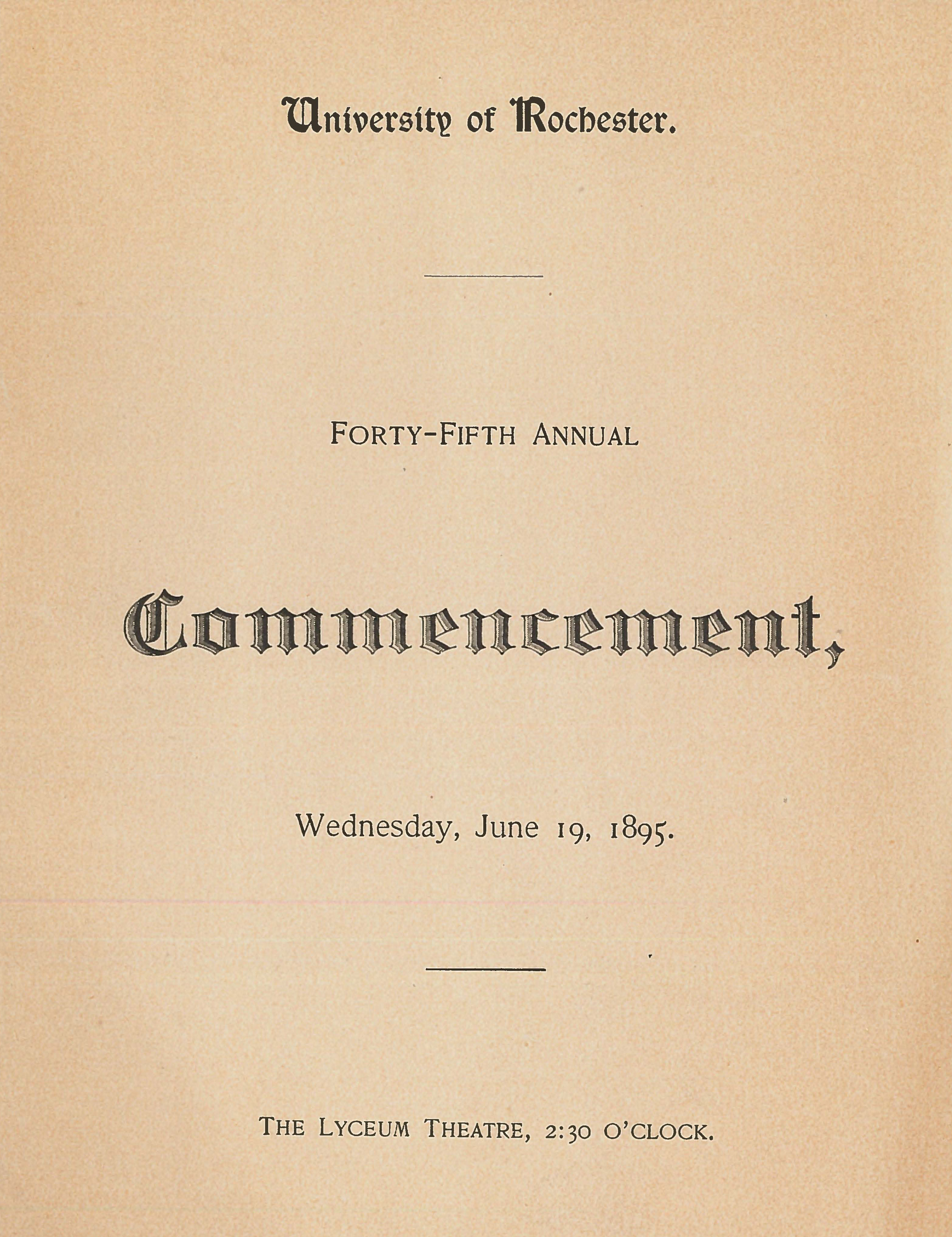 Commencement program, 1895