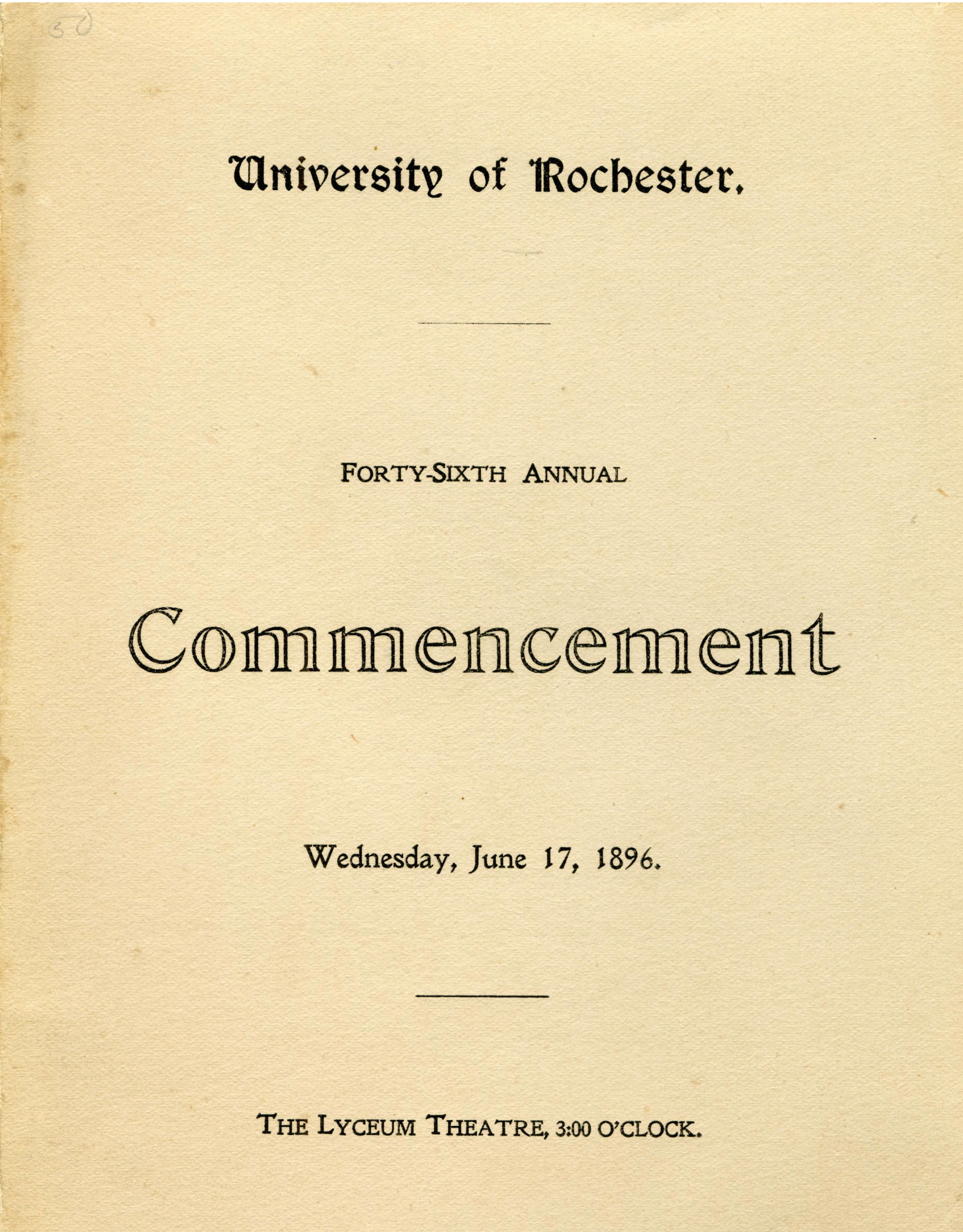 Commencement program, 1896