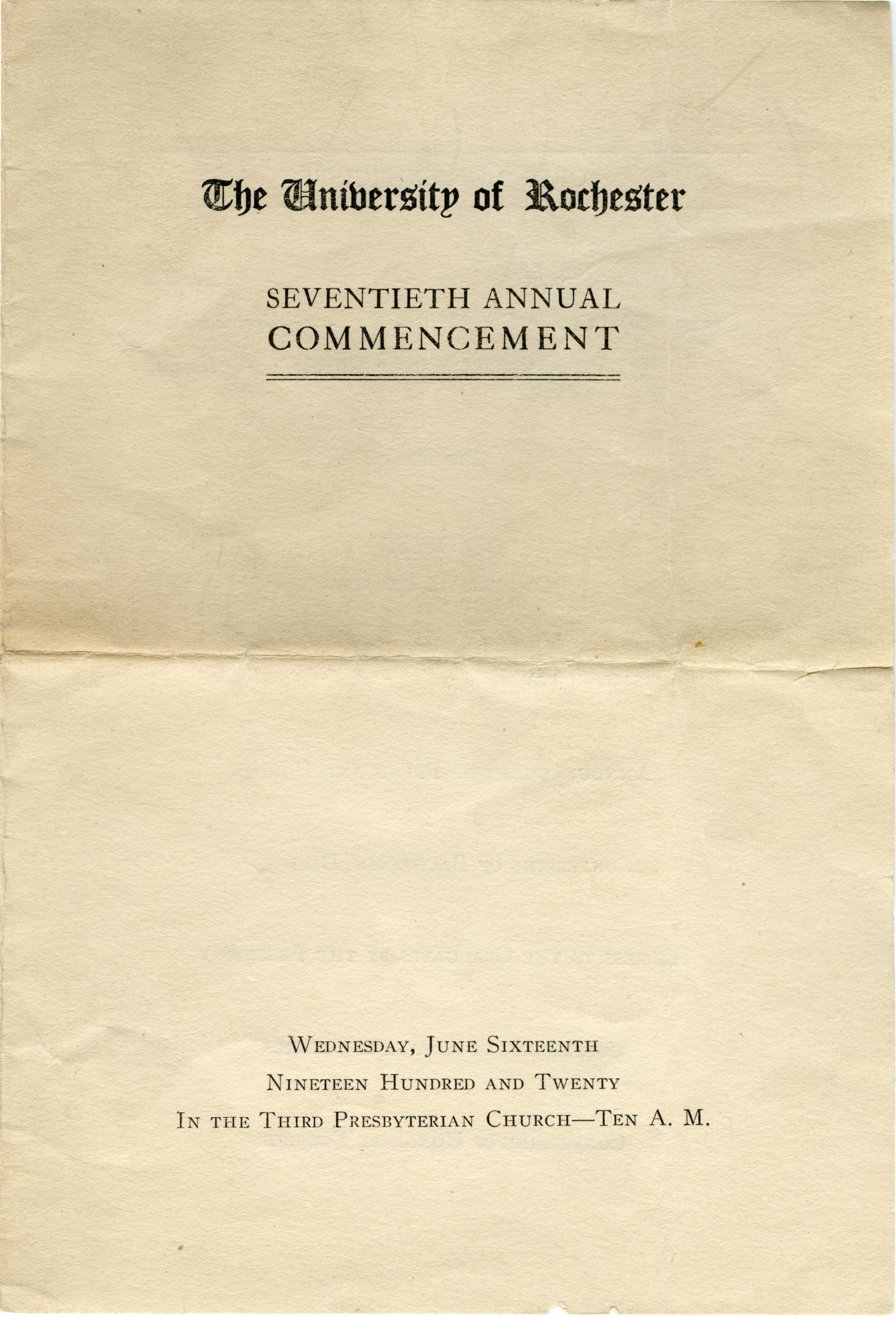 Commencement program, 1920