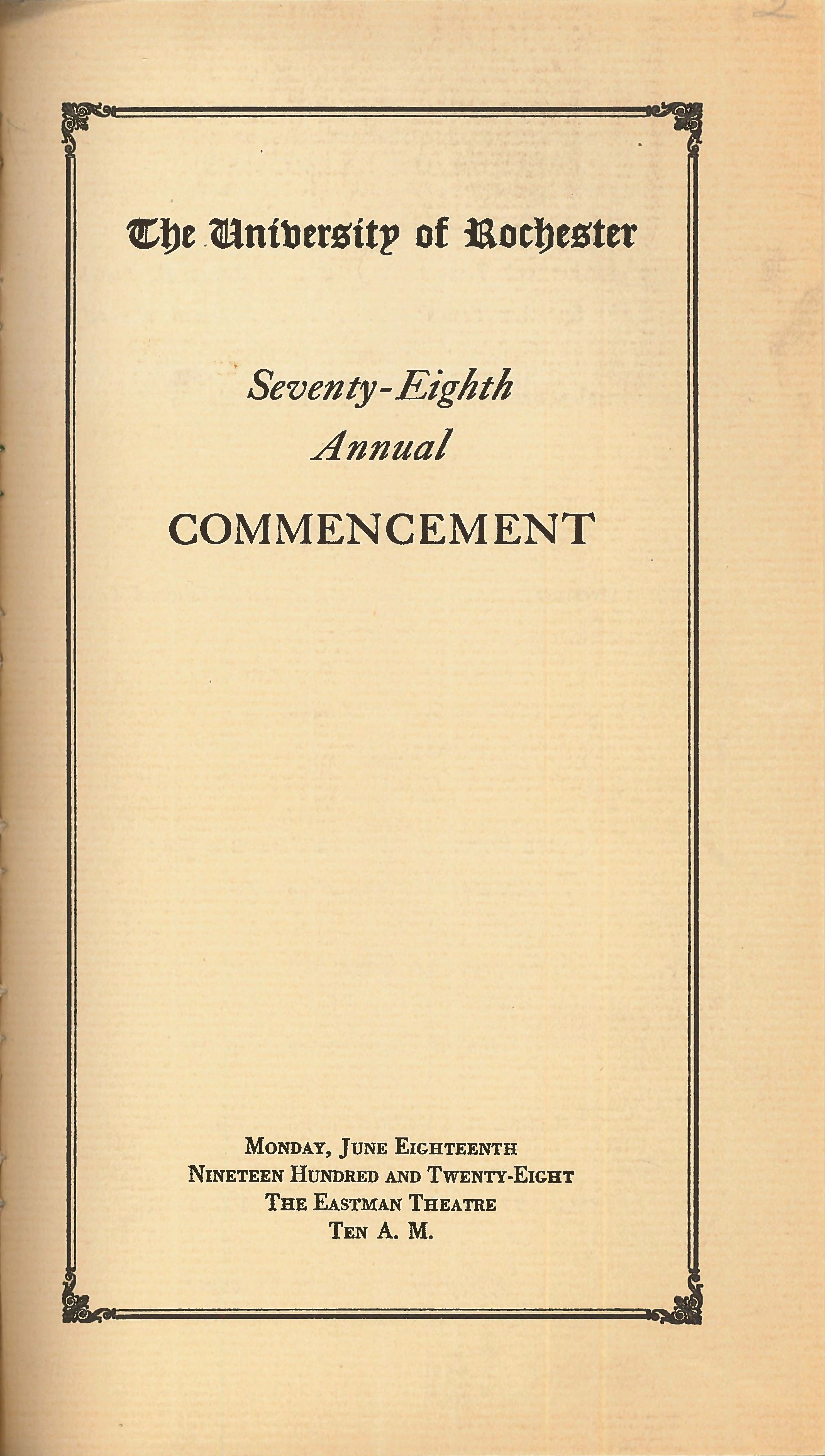 Commencement program, 1928