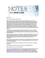 Notes from Dean Clark (March 14, 2016)