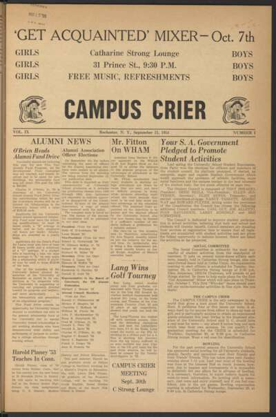 Campus Crier (September 15, 1954)