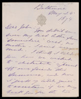 Signed letter from Booth to Russell, 1874