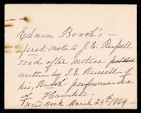 Signed letter from Booth to Russell, 1864
