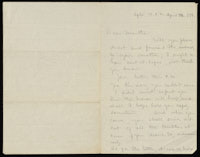 Correspondence from Charlotte Perkins Gilman to Martha Allen Luther Lane, April 11, 1884