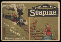 """Look Out for Soapine:"" Man following a woman along train tracks with a Soapine train coming up behind him"