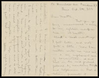 Correspondence from Charlotte Perkins Gilman to Martha Allen Luther Lane, October 8, 1885
