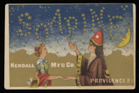 Magician touching the hand of a woman, Soapine spelled out by the stars