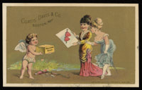 "Two women, a valentine and Cupid holding a box marked ""Welcome Soap"""