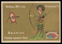 "Soapine French Laundry Soap, ""Dirt killer"": Female archer in ""killer"" hat shooting at a ""dirt"" target."