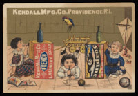 Three children playing telephone with Soapine and French Laundry soap boxes