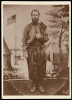Photograph of a tintype of John McGraw in his Zouave uniform