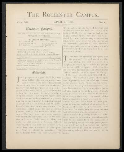 Rochester Campus (April 24, 1886)