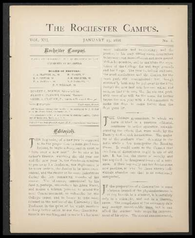 Rochester Campus (January 23, 1886)