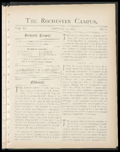 Rochester Campus (January 31, 1885)