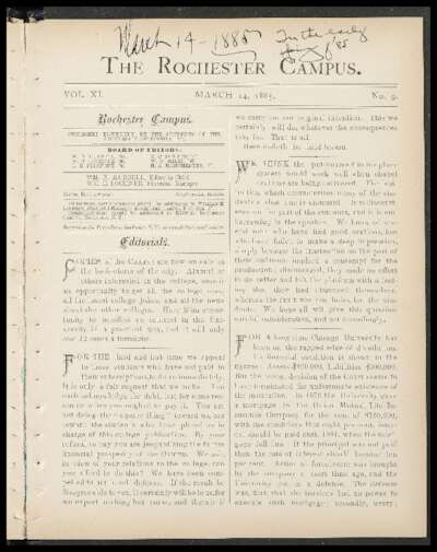 Rochester Campus (March 14, 1885)