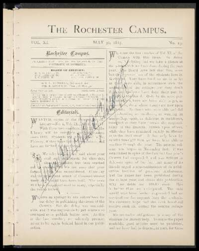 Rochester Campus (May 30, 1885)