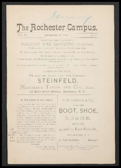 Rochester Campus (December 16, 1882)