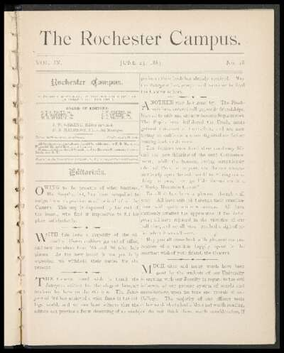 Rochester Campus (June 23, 1883)