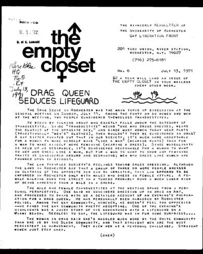 Empty Closet, no. 6 (July 13, 1971)