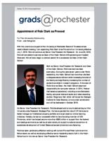 Grads @Rochester (October 15, 2015) Special Edition: New Provost Appointed