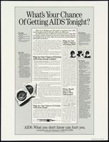 What's your chance of getting AIDS tonight? AIDS. What you don't know can hurt you